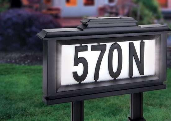 Solar light address plaque