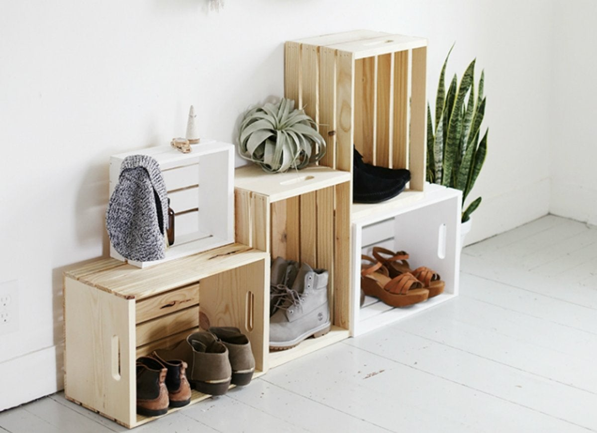 Diy entryway storage wooden crates