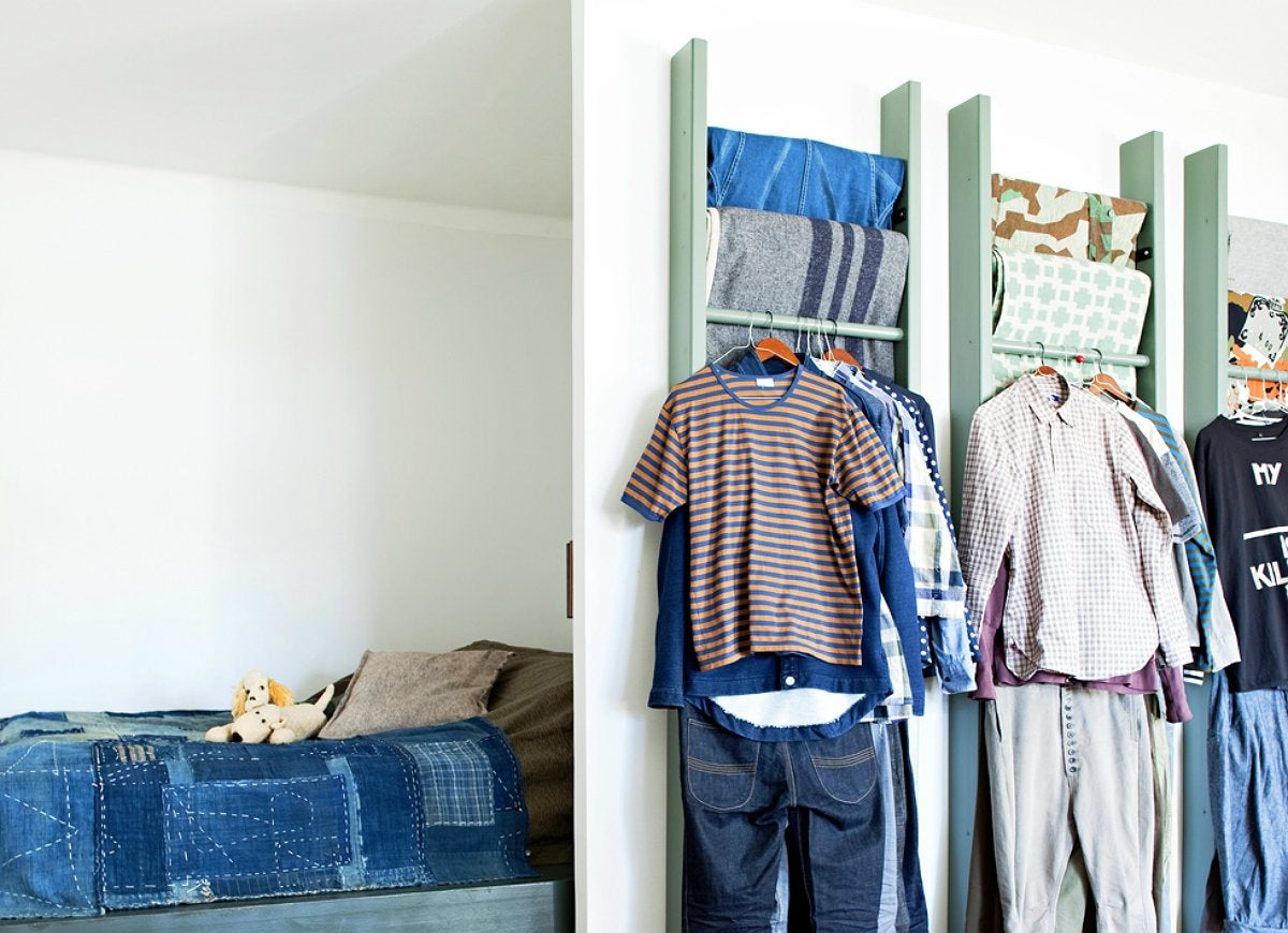 Diy ladder wardrobe storage