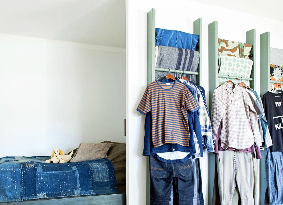 Diy ladder wardrobe storage