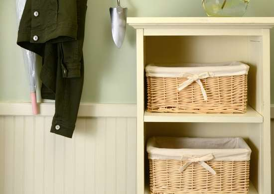 Contain clutter with baskets