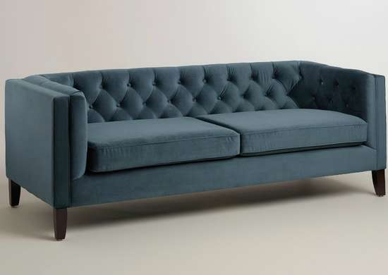 Midnight blue velvet kendall sofa worldmarket