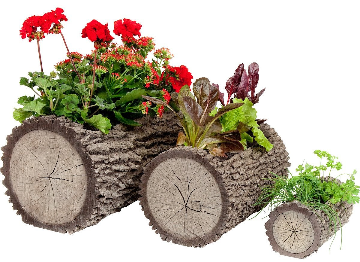Log shaped planter
