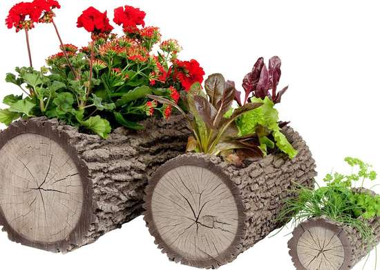 Log-Shaped Planter