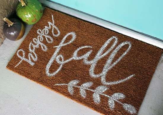 DIY Painted Doormat for Fall