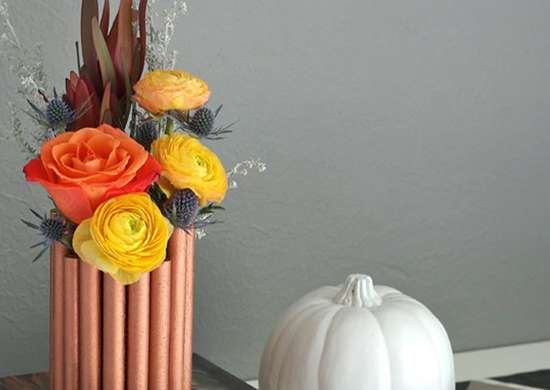 DIY Fall Vase with Copper Pipe