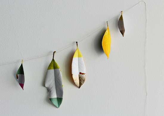 Diy painted leaf banner