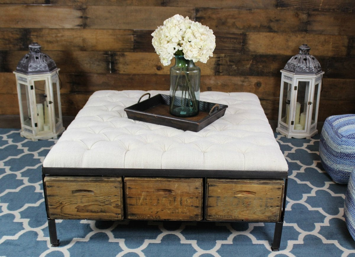 Crate tufted ottoman