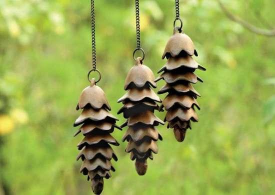 Cast iron pine cone wind chimes