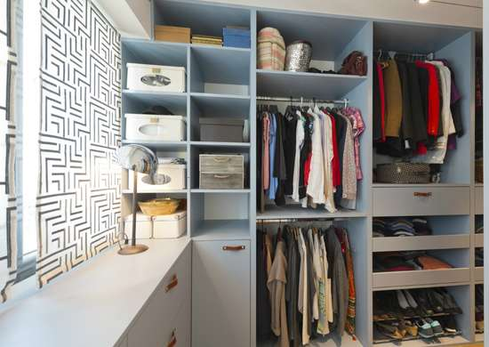 Walk in closet storage space