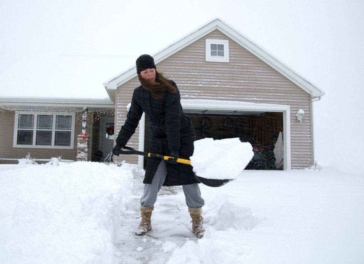 Shovel snow faster with cooking spray
