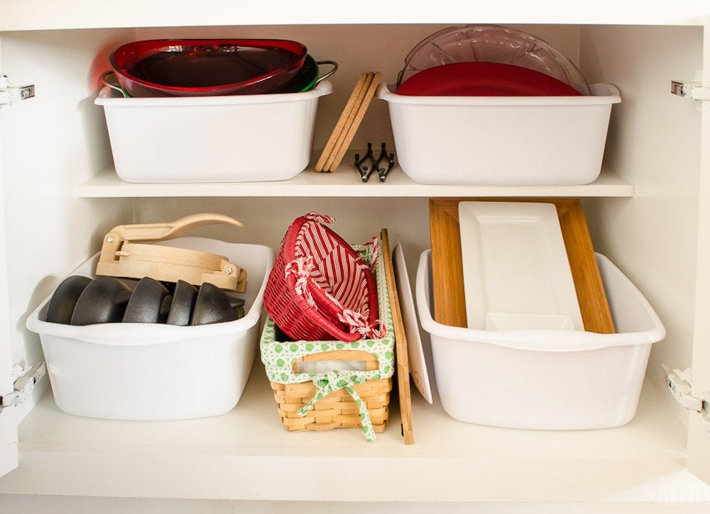 Kitchen cabinet organization bins