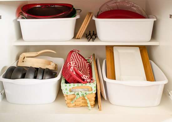 Storage Bins in the Cabinet