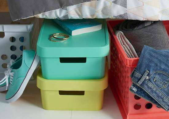 Bright underbed storage bins