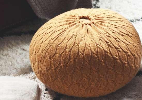 Diy sweater pouf ottoman