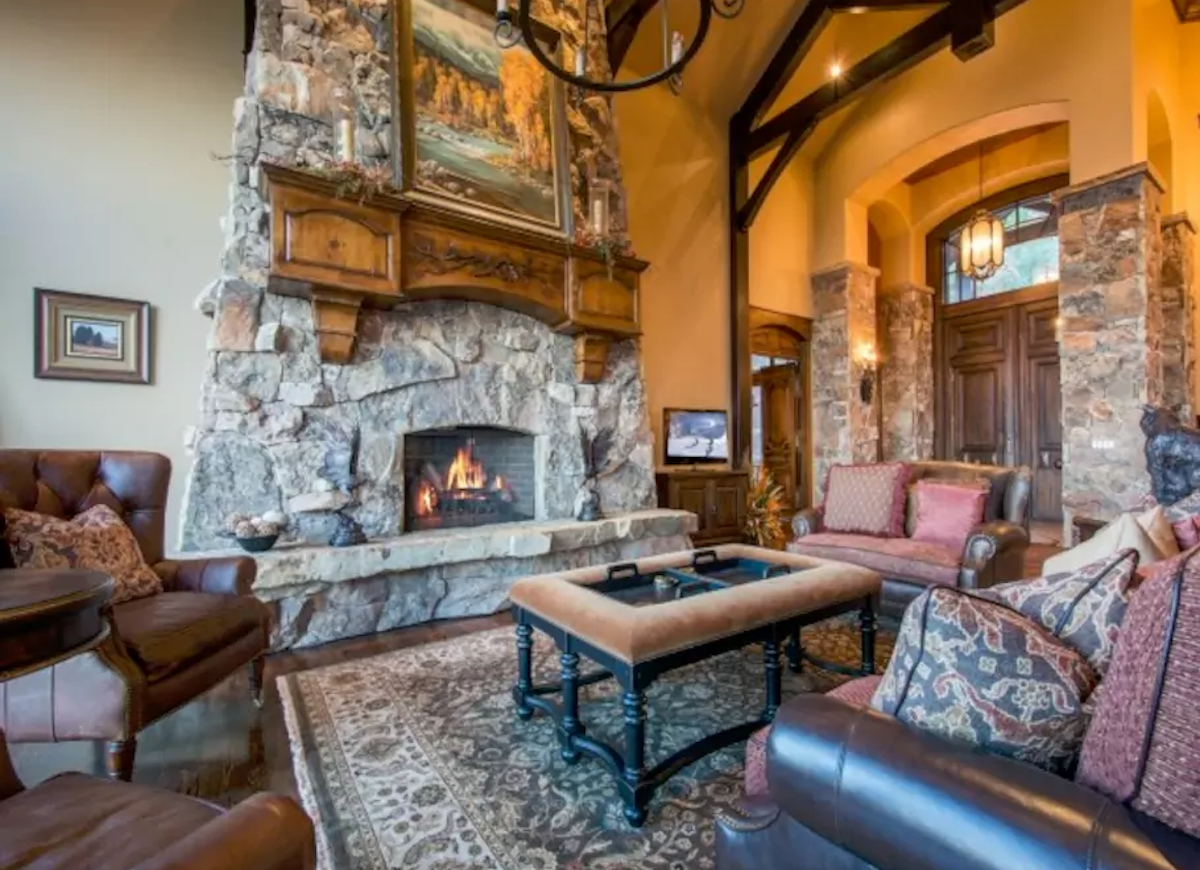 Great stone fireplace