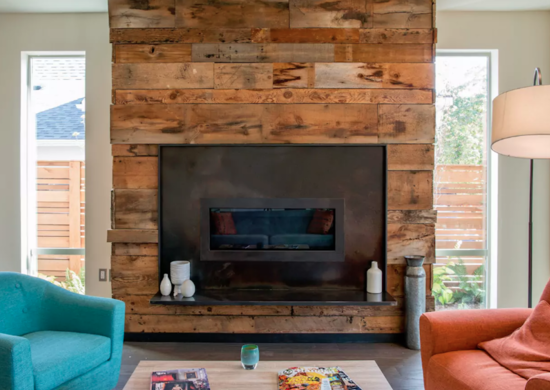 Industrial wood fireplace