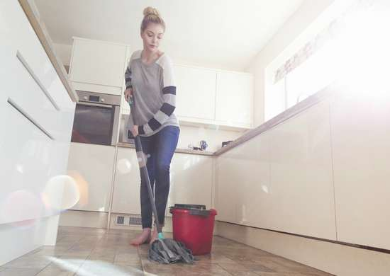 Clean disinfect kitchen floors