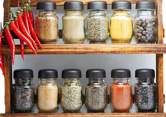 Built-In Spice Rack in Kitchen