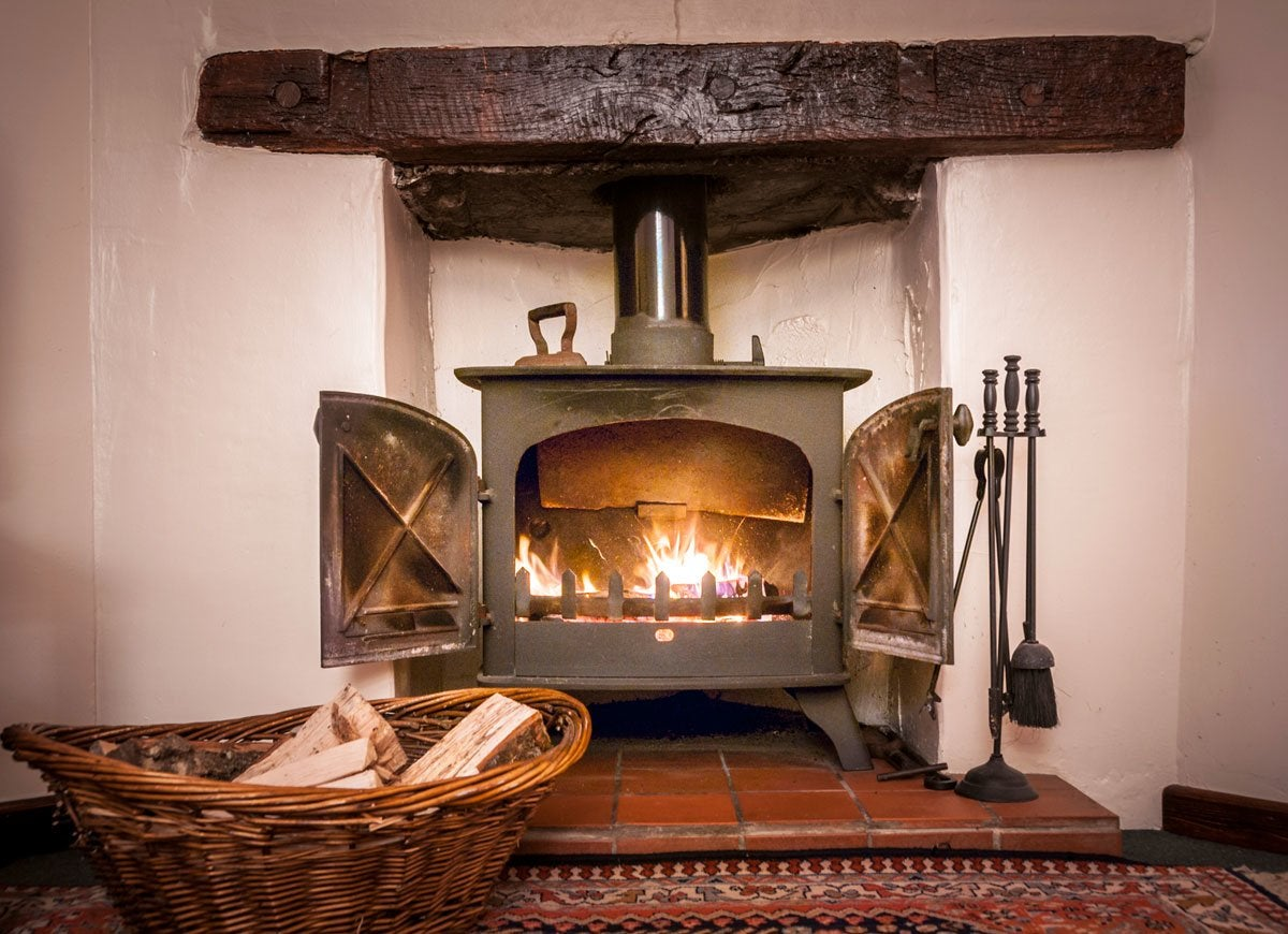 Wood Stove In Modern Kitchen