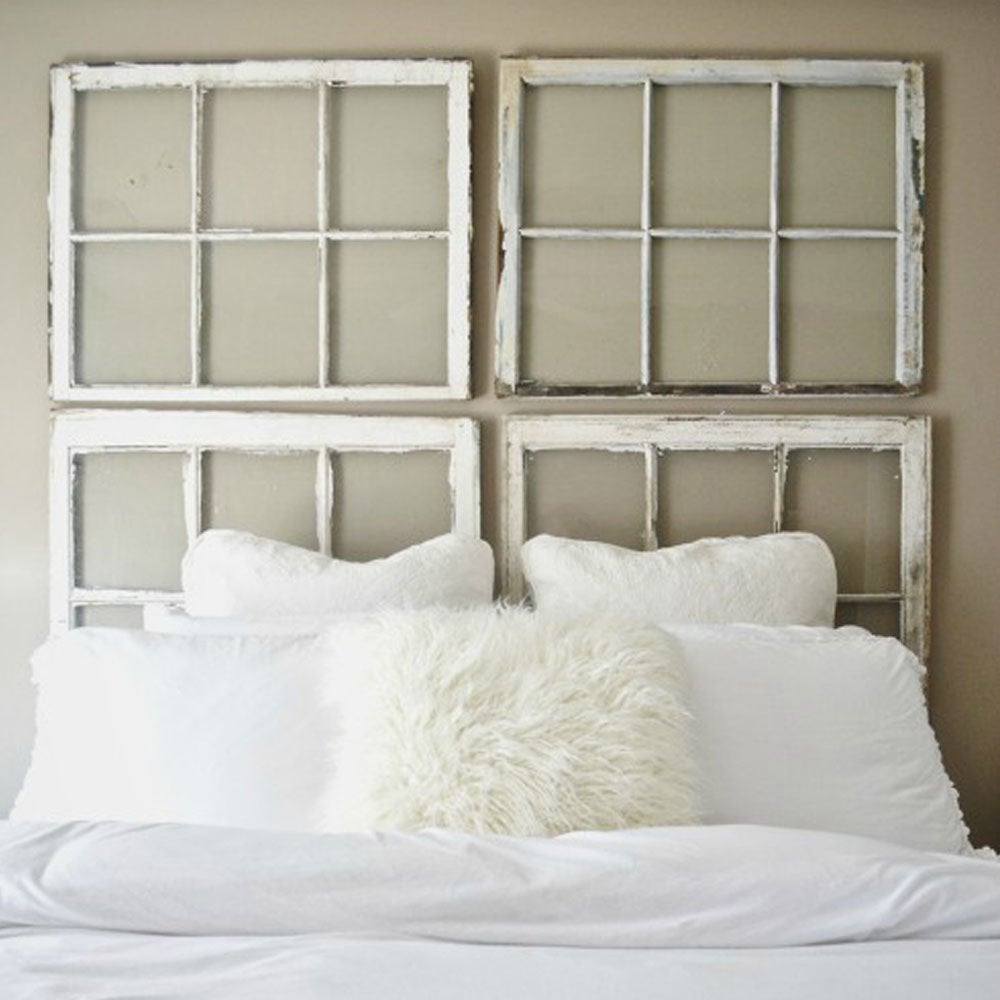 Diy window headboard diy headboard ideas 16 projects for Makeshift headboard