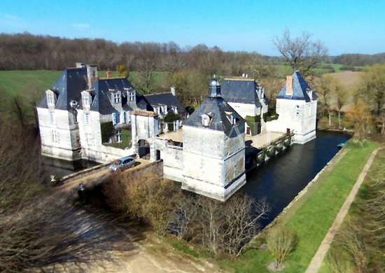 Moated chateau