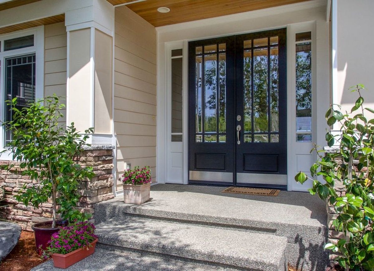 Contemporary Double Door With Gl Sidelites