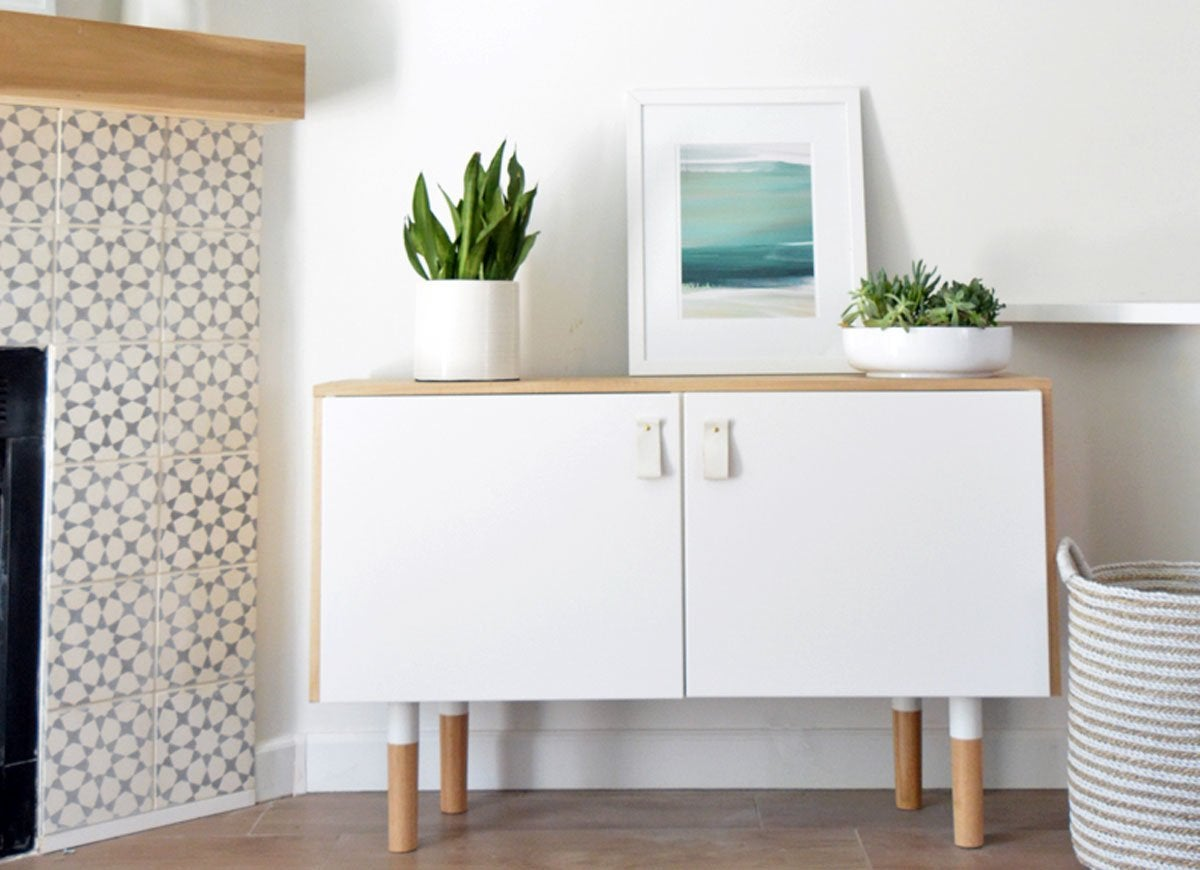 ikea console table hack ikea hacks the very best of 2016 bob vila. Black Bedroom Furniture Sets. Home Design Ideas