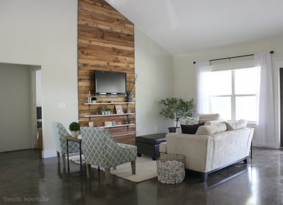 After Woodsy Wall Treatment Farmhouse Living Room Makeover