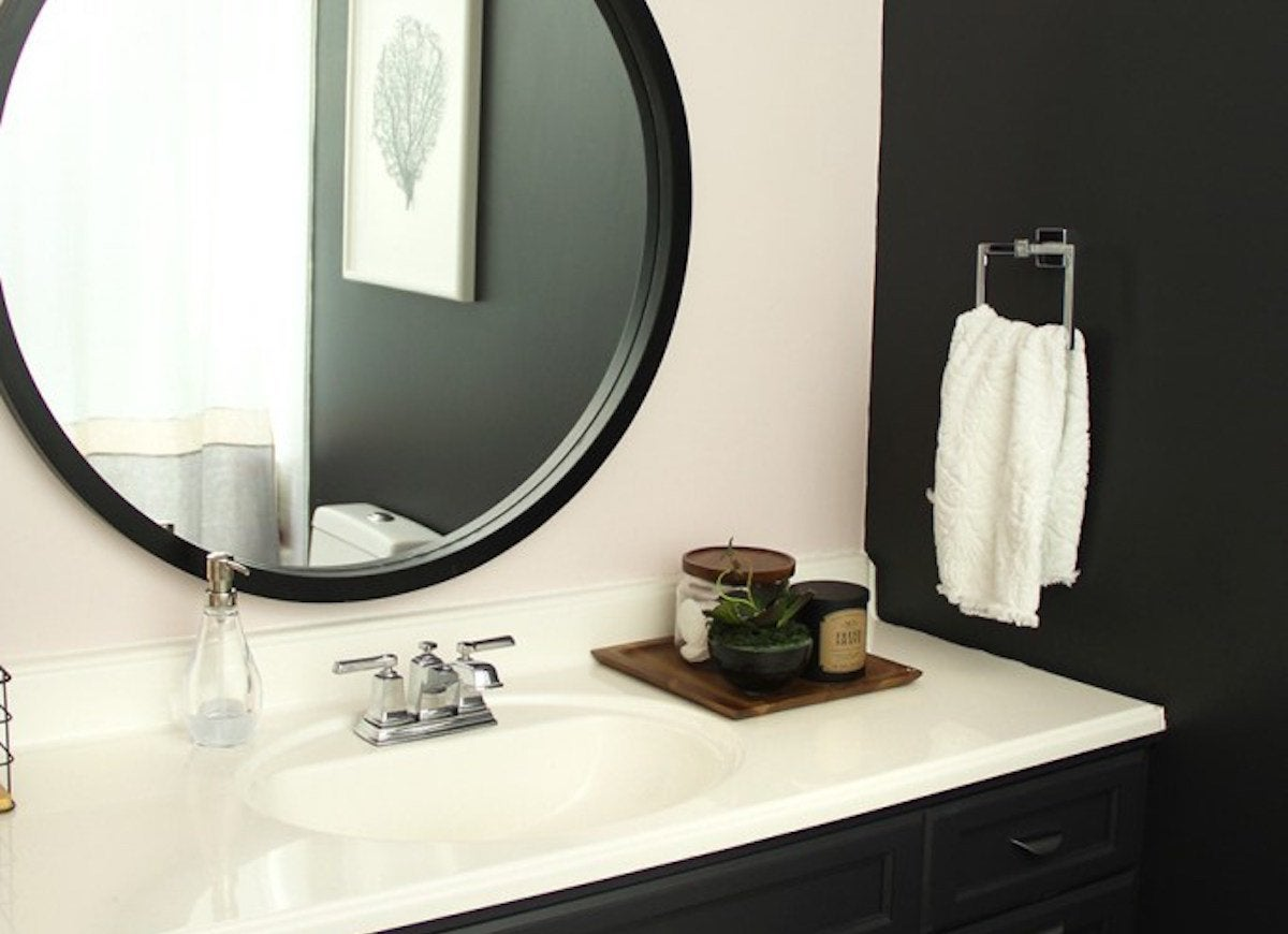 Black main bath circle mirror