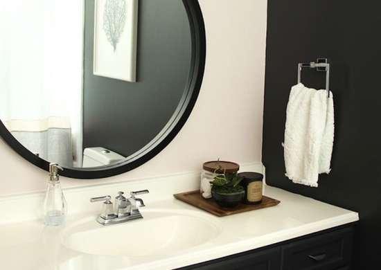 Black main bath circle mirror