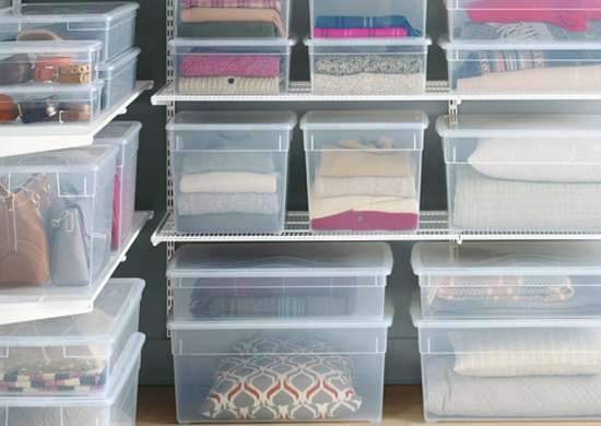Clear storage bins