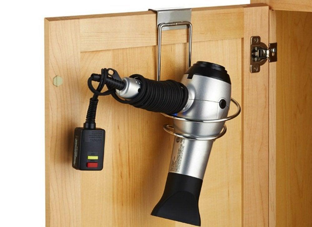 Over the door hairdryer holder