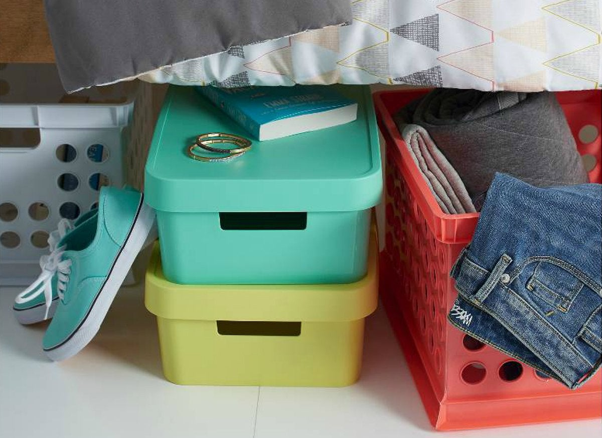 Bright underbed storage bins