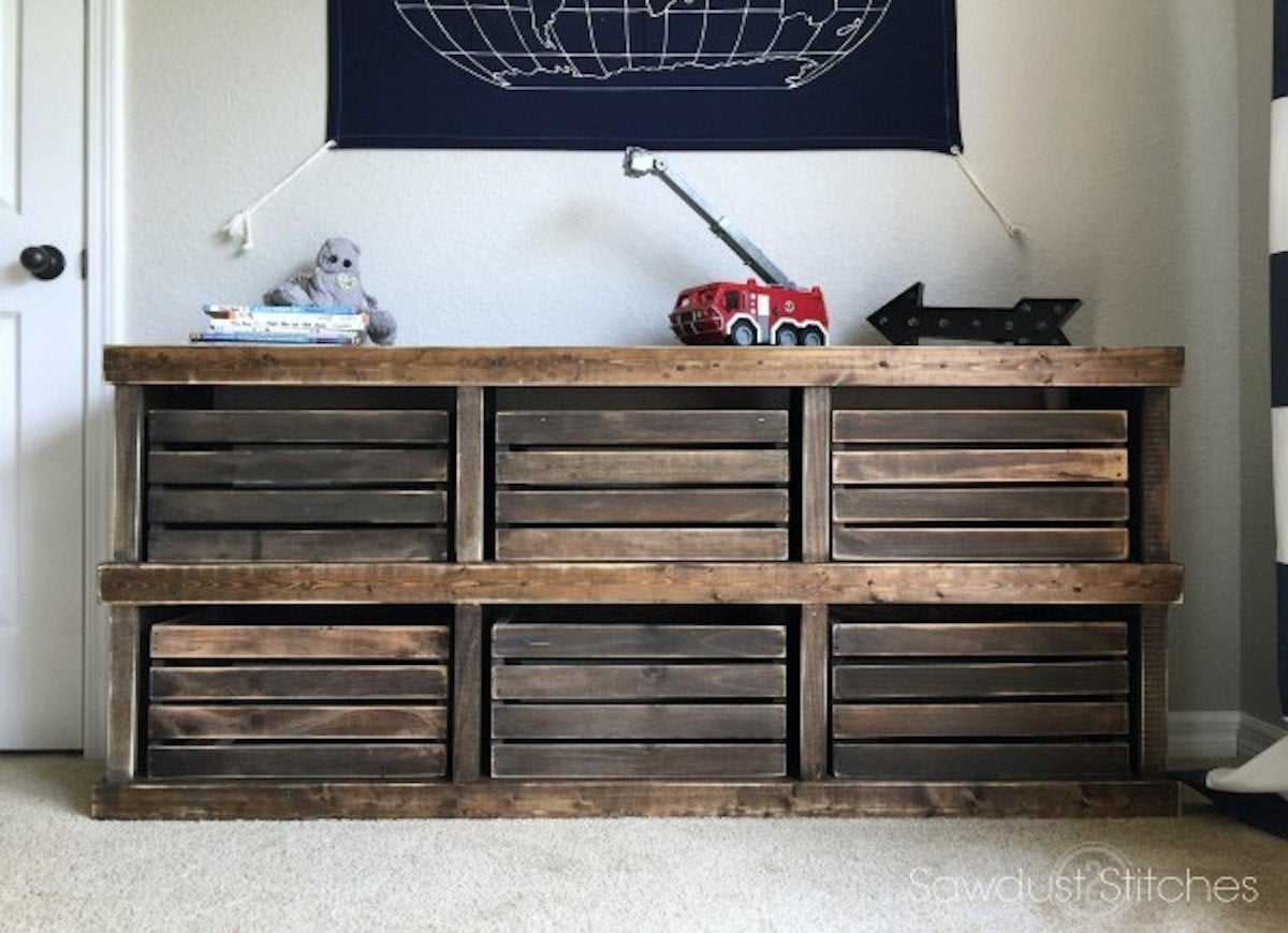 This Pottery Barn Inspired Diy Dresser And Toy Crate May Look Expensive But It Couldn T Be Simpler To Make Or Easier On Your Wallet