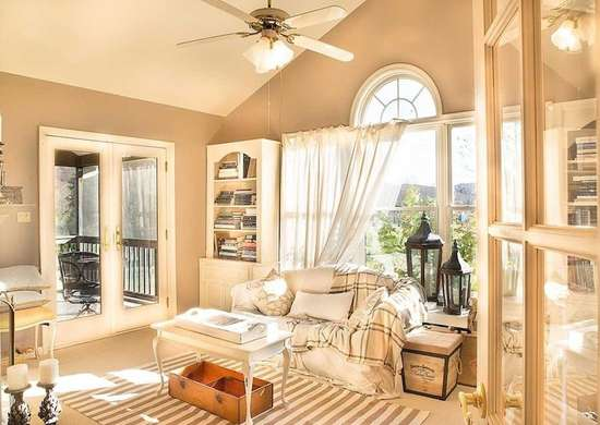 Beige Country Living Room