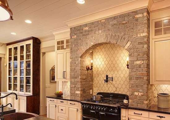 Beige Kitchen with Exposed Brick