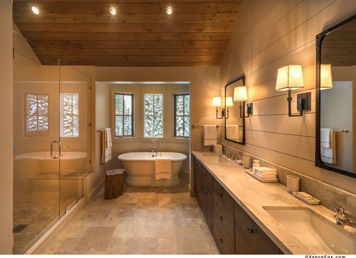 Large beige bathroom