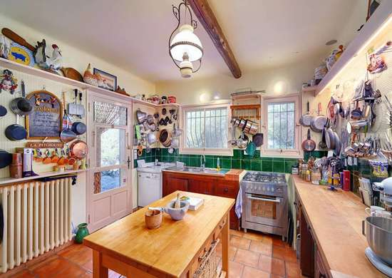 Eclectic beige kitchen