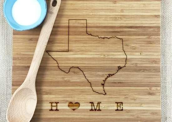 Texas engraved cutting board