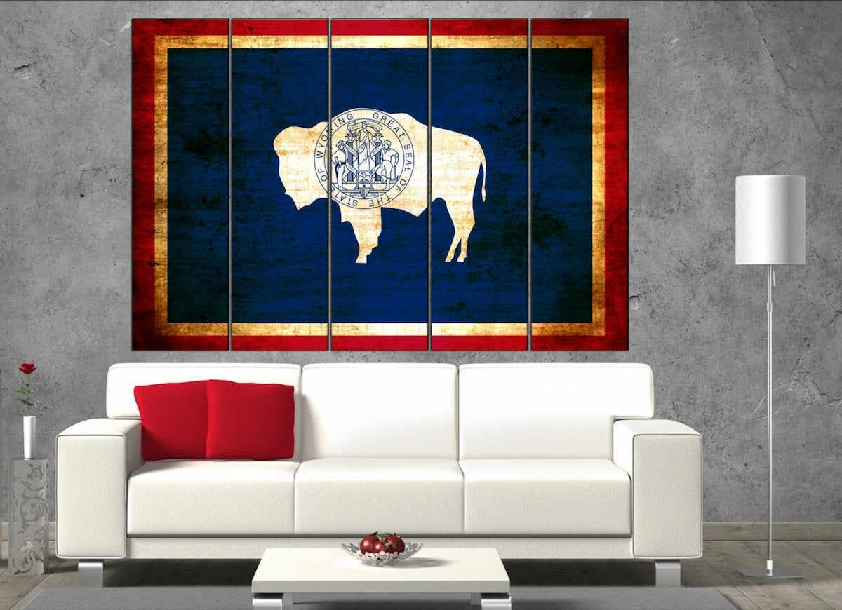 Wyoming state flag canvas art