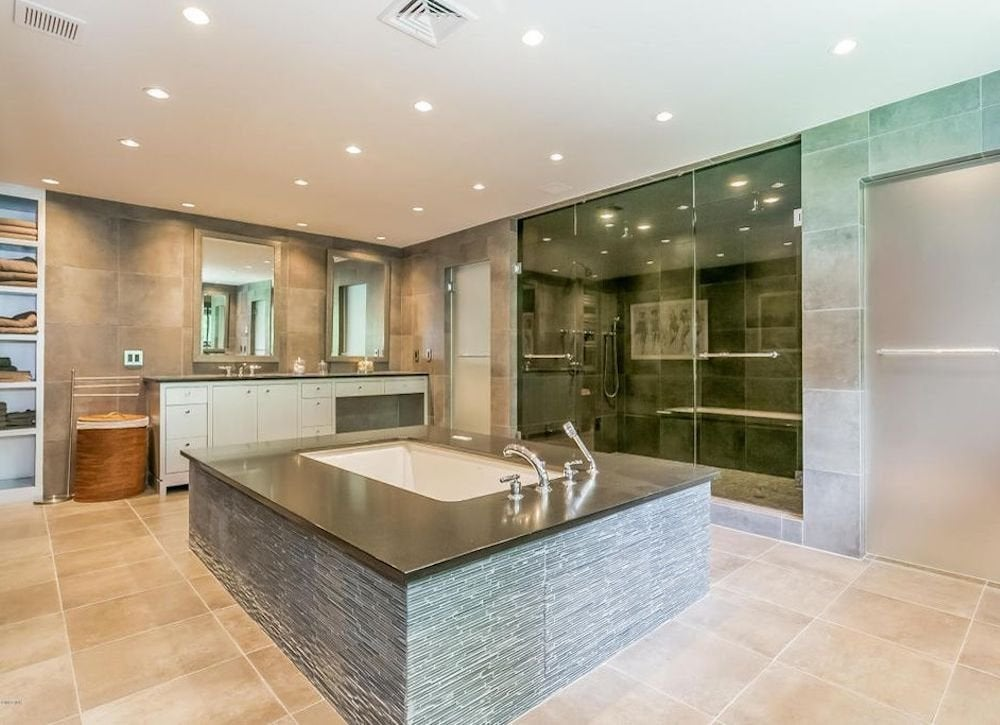 Bathtub in center