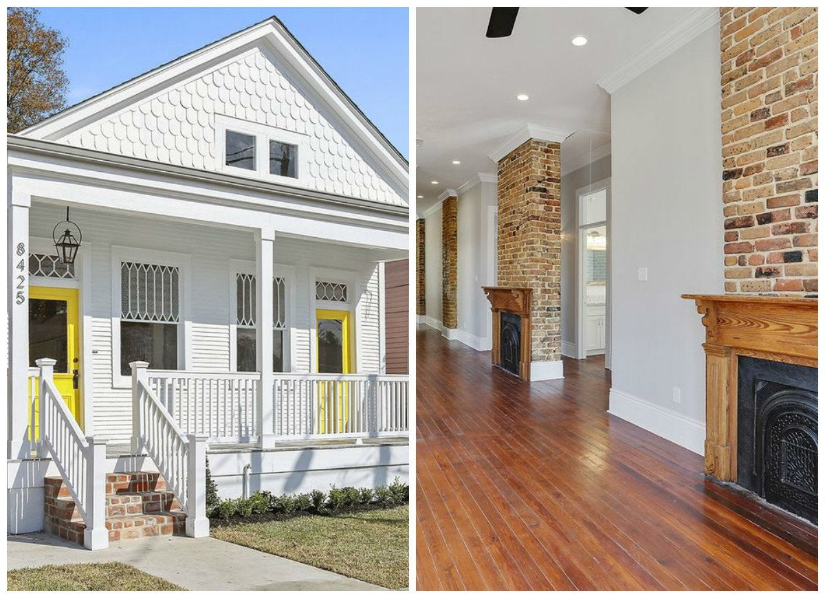 White-and-yellow-shotgun-house