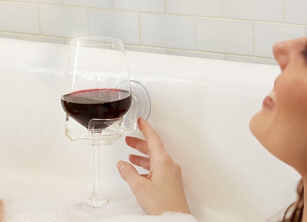 Wine glass holder bathtub