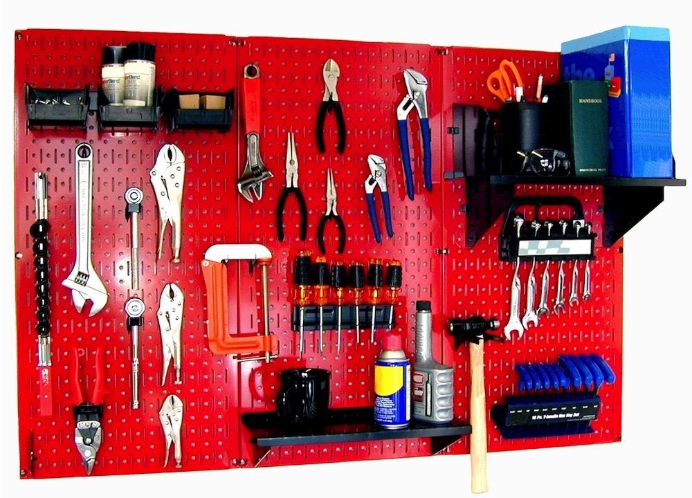 Colored metal pegboard