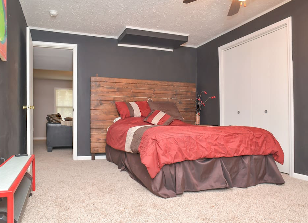 Brown basement bedroom