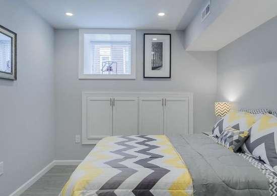 Basement bedroom cool colors