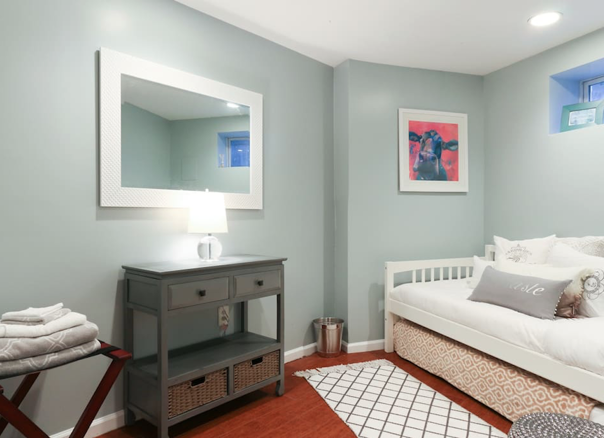 Mint green basement bedroom