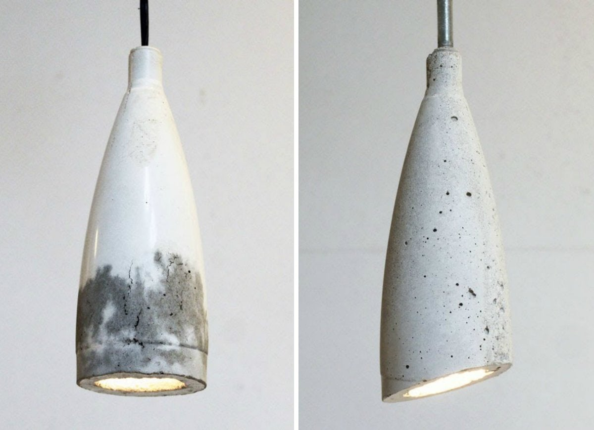 Concrete pendant lights made with quikrete