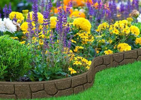 Ezborderstones earth rubber garden edging